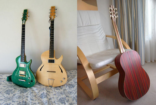 image of some of Kif Woods guitars Perranuthnoe