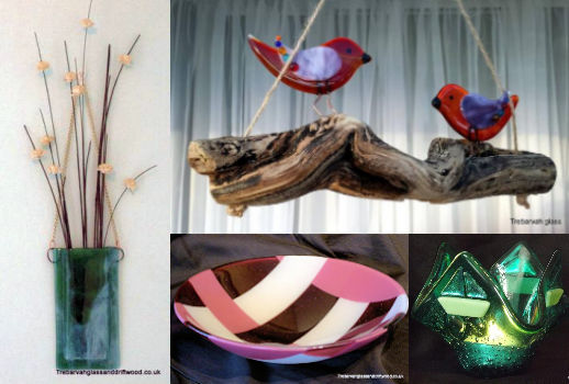 image of examples of trebarvah glass and driftwood art perranuthnoe